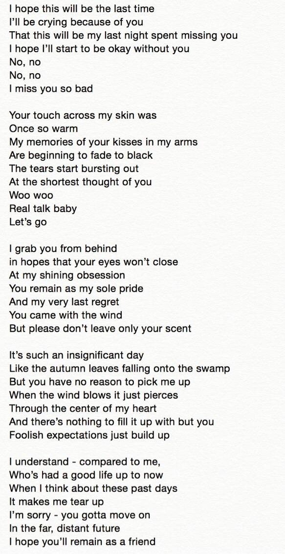 "ENG trans | Lyrics] iKON ""I Miss You So Bad"" written by G"