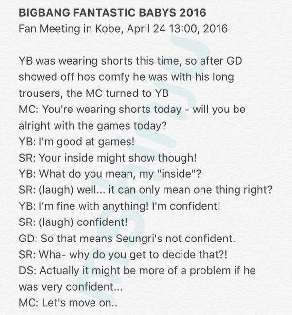 BIGBANG FM Kobe 2016-04-24 Afternoon MShinju