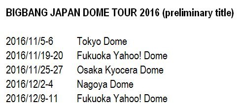 Preliminary Japan dates released