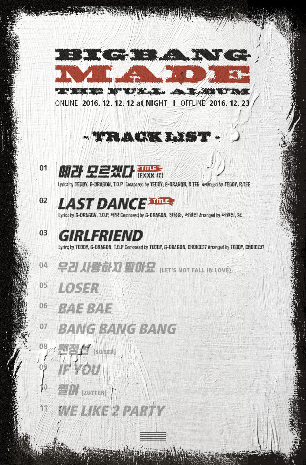 BIGBANG MADE FULL ALBUM TRACKLIST